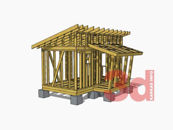 3d модель каркасной бани-сауны Йокерит 14