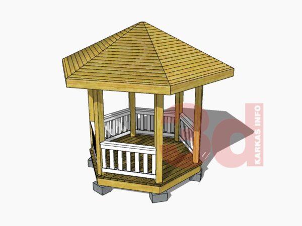 3d модель садовой беседки Бухара