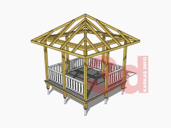 3d модель садовой беседки Чайная