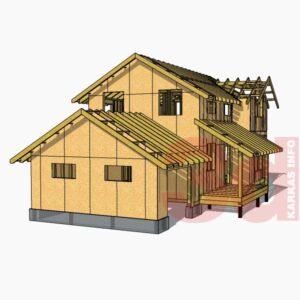 3d модель каркасного дома Монтана 104