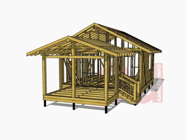3d модель каркасного дома Юта 40