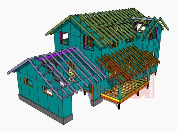 Слои модели каркасного дома Монтана 104