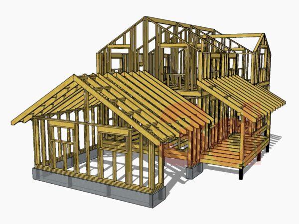 Стропильная система каркасного дома Монтана 104