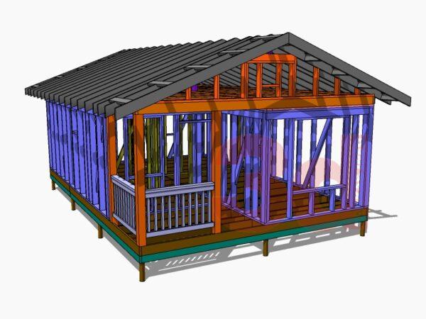 Слои модели каркасного дома Приозерье 42