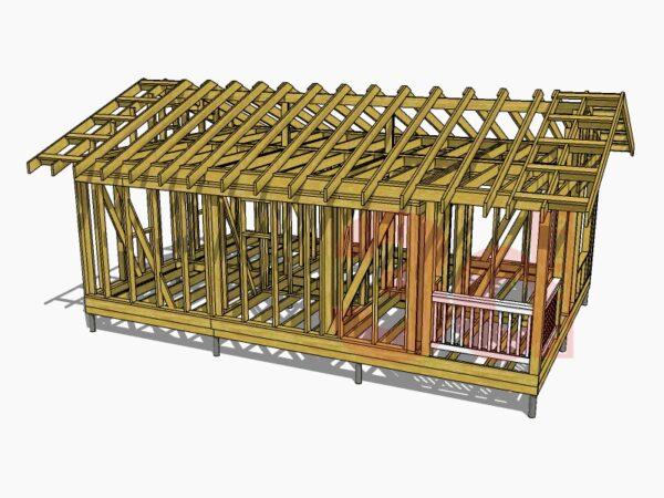 Стропильная система каркасного дома Приозерье 42
