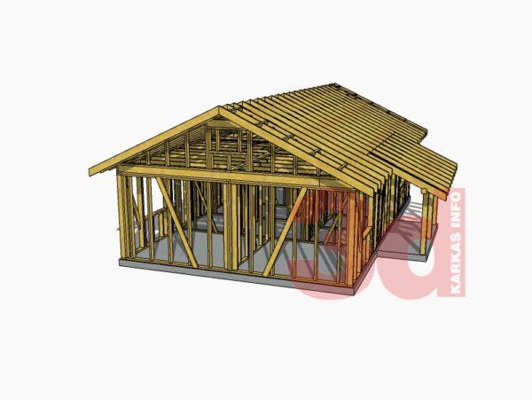 3d модель одноэтажного каркасного дома Айова 69