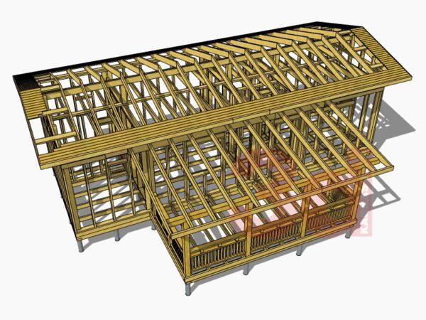 Стропильная система каркасной бани-сауны КБ-41
