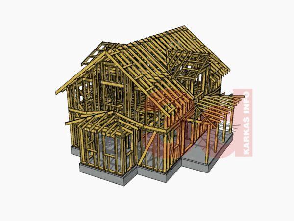 3d модель каркасного дома Улвила 156