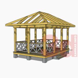 3d модель садовой беседки Гостевая