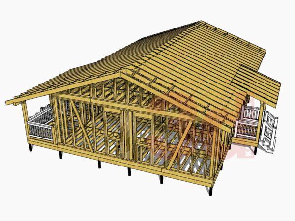 Стропильная система каркасного дома Оклахома 86
